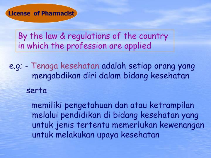 License  of Pharmacist