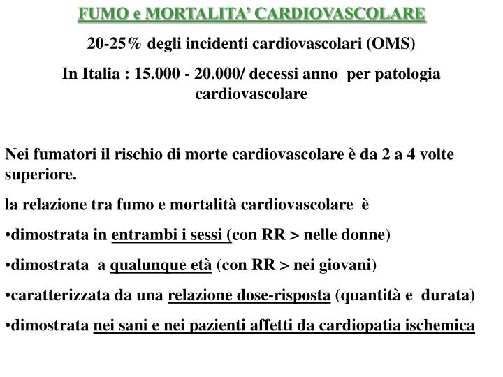 FUMO e MORTALITA' CARDIOVASCOLARE