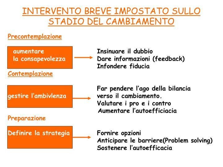 INTERVENTO BREVE IMPOSTATO SULLO STADIO DEL CAMBIAMENTO