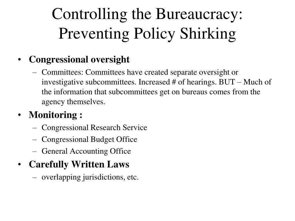 Controlling the Bureaucracy: Preventing Policy Shirking