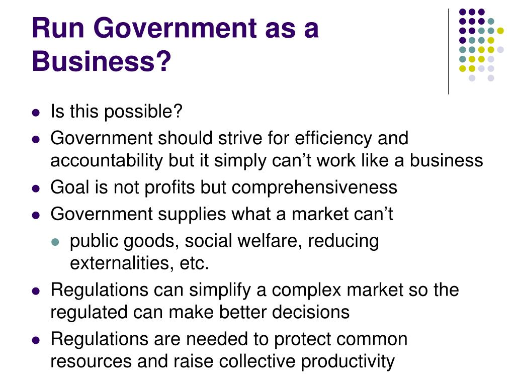 Run Government as a Business?