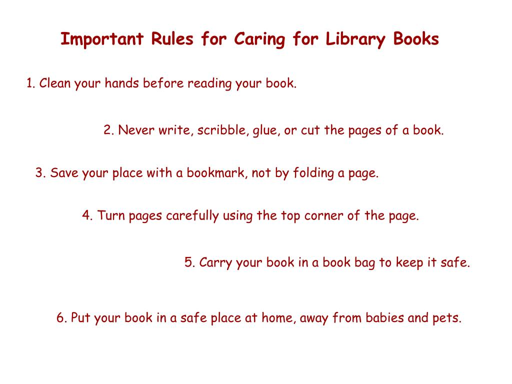 Important Rules for Caring for Library Books