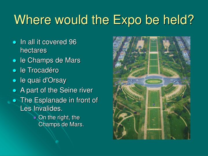 Where would the Expo be held?
