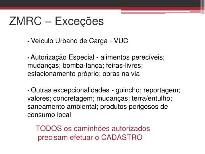 ZMRC – Exceções