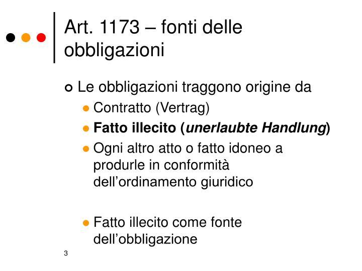 Art. 1173 – fonti delle obbligazioni