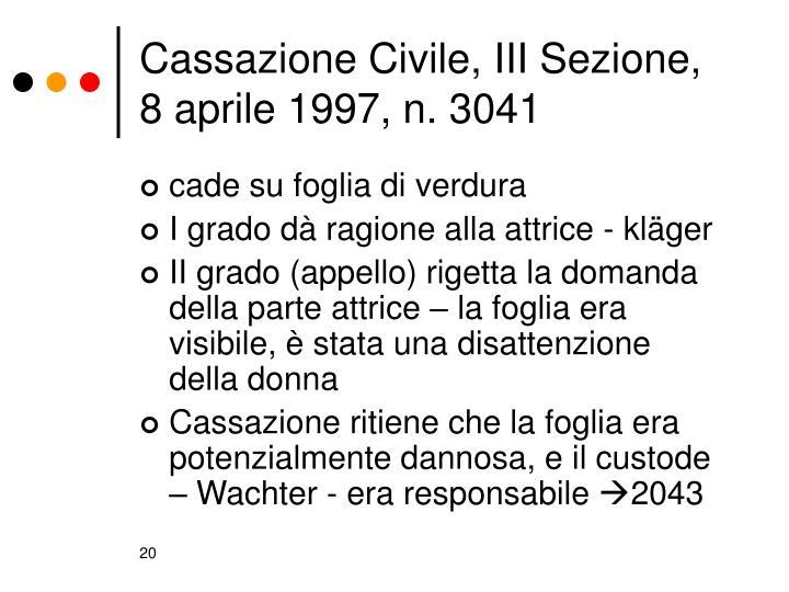 Cassazione Civile, III Sezione, 8 aprile 1997, n. 3041