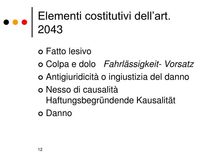 Elementi costitutivi dell'art. 2043