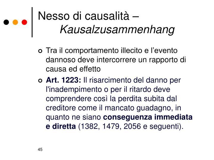 Nesso di causalità –
