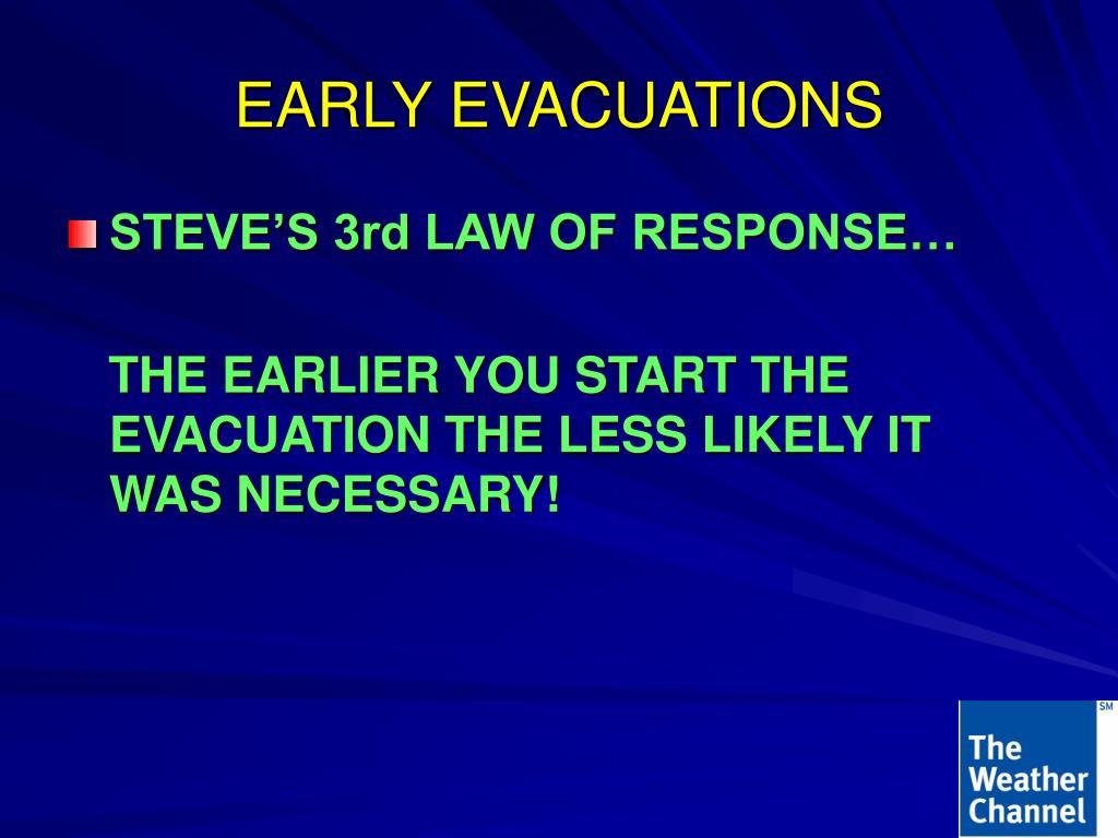 EARLY EVACUATIONS