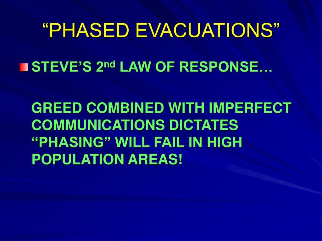 """PHASED EVACUATIONS"""