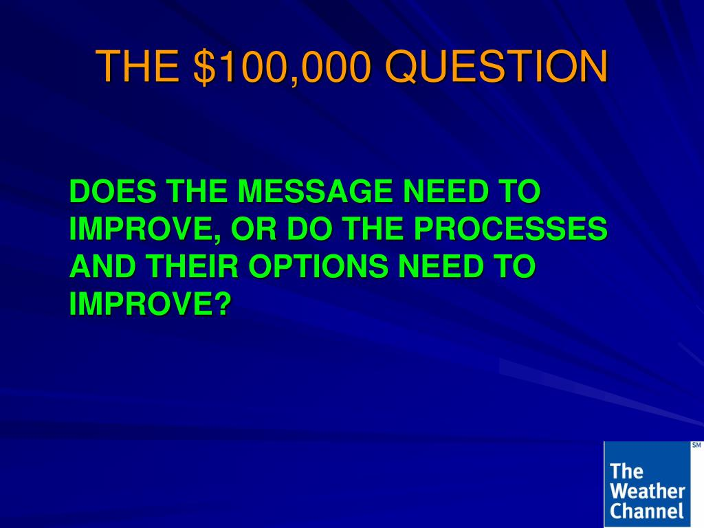 THE $100,000 QUESTION