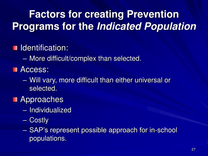 Factors for creating Prevention Programs for the