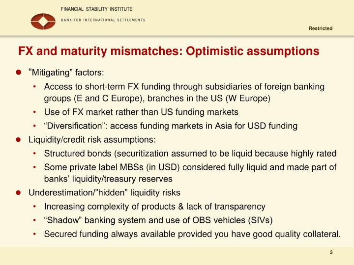 Fx and maturity mismatches optimistic assumptions