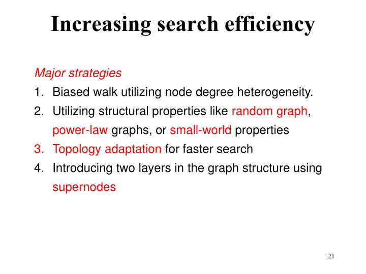 Increasing search efficiency