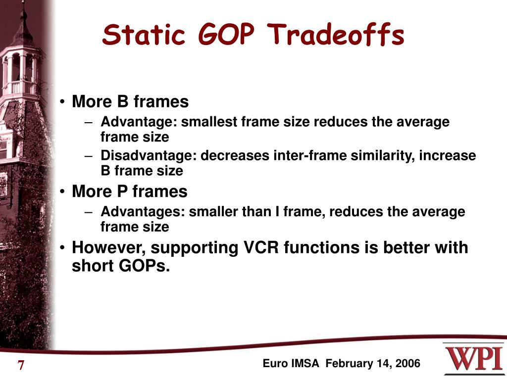 Static GOP Tradeoffs