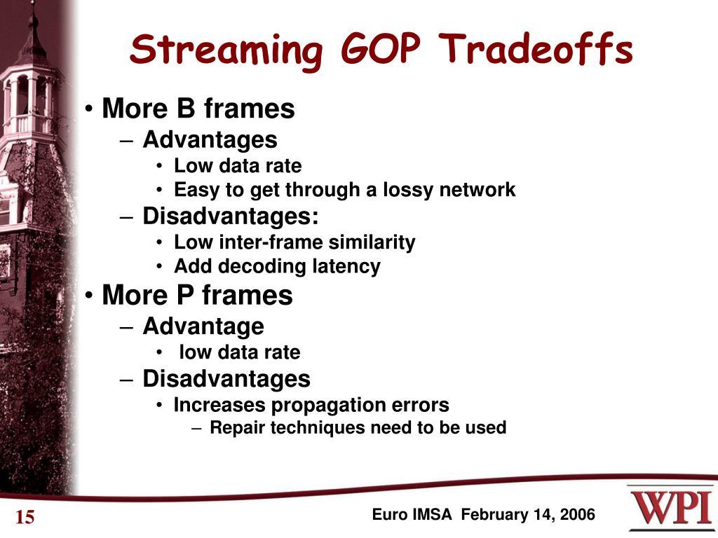 Streaming GOP Tradeoffs