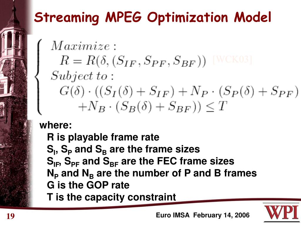 Streaming MPEG Optimization Model