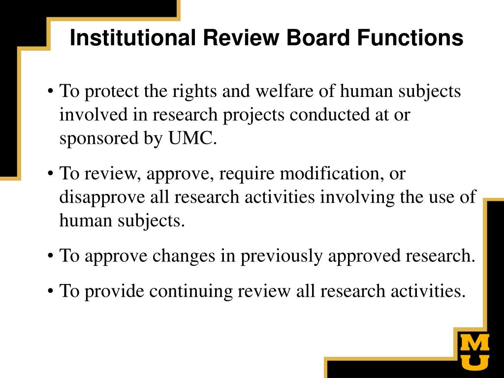 Institutional Review Board Functions