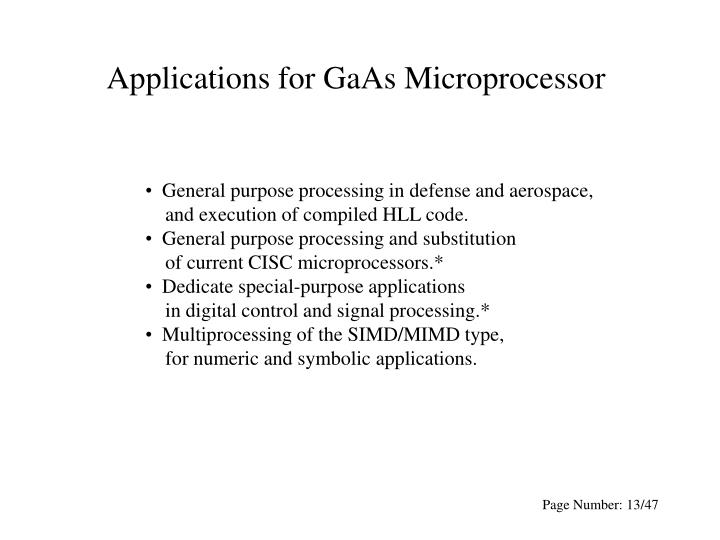 Applications for GaAs Microprocessor