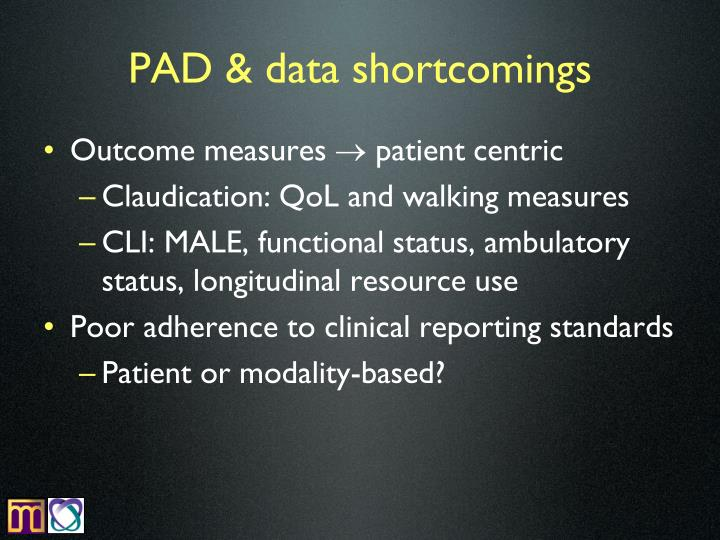 PAD & data shortcomings