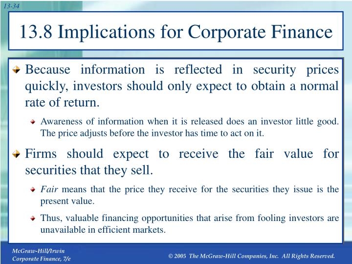 13.8 Implications for Corporate Finance