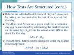how tests are structured cont