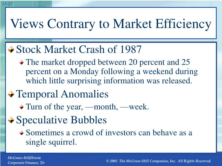 Views Contrary to Market Efficiency