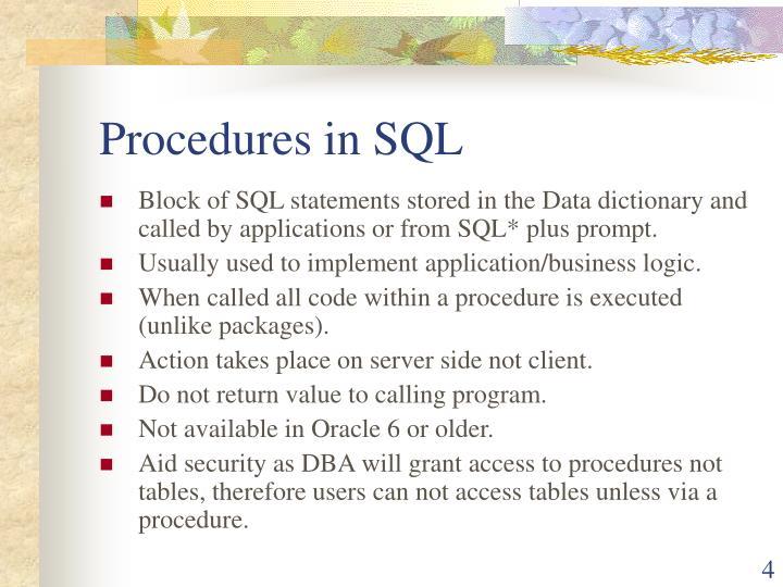 Procedures in SQL