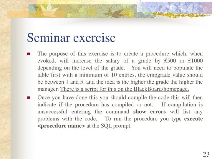 Seminar exercise
