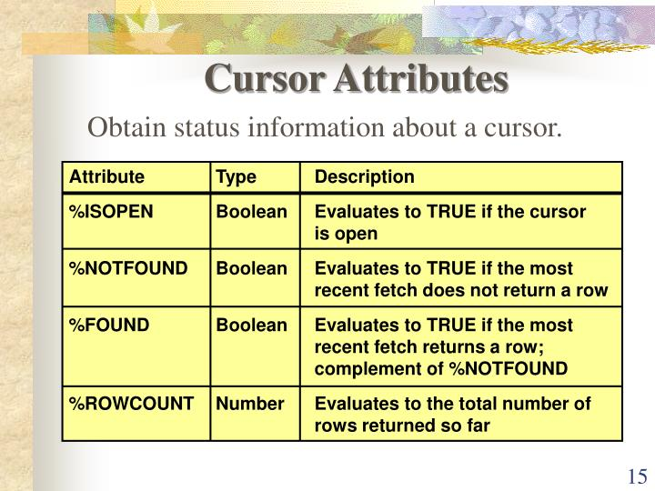 Cursor Attributes