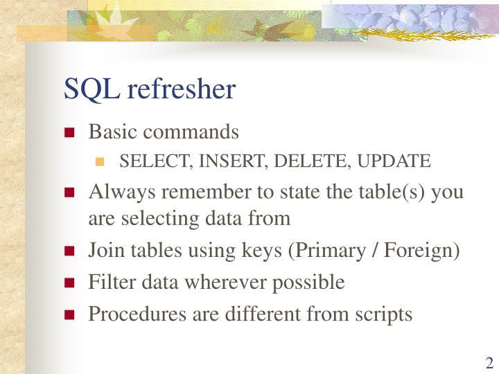 SQL refresher