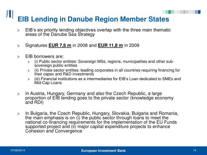 EIB Lending in Danube Region Member States