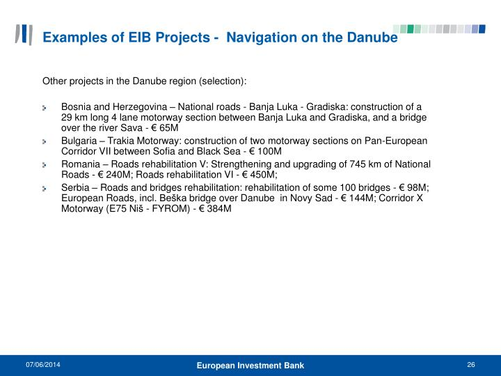 Examples of EIB Projects -  Navigation on the Danube