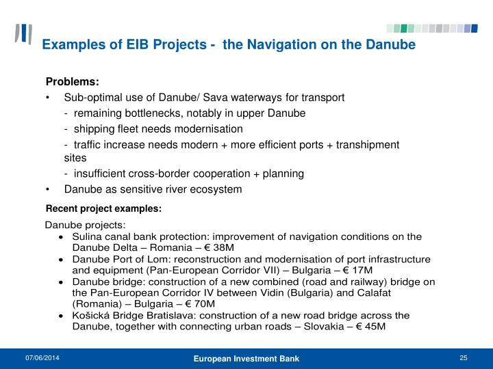 Examples of EIB Projects -  the Navigation on the Danube