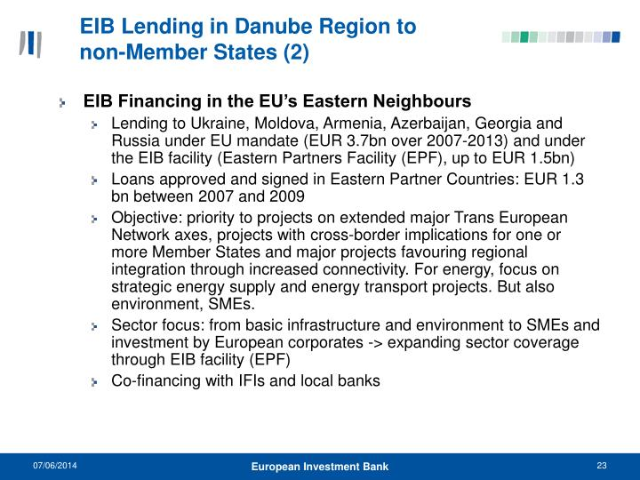 EIB Lending in Danube Region to