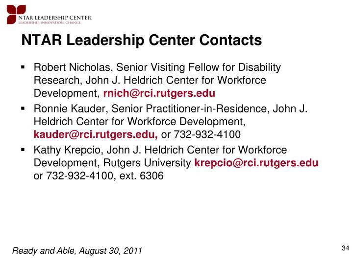 NTAR Leadership Center Contacts