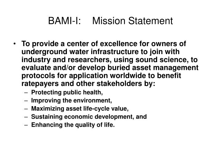 Bami i mission statement