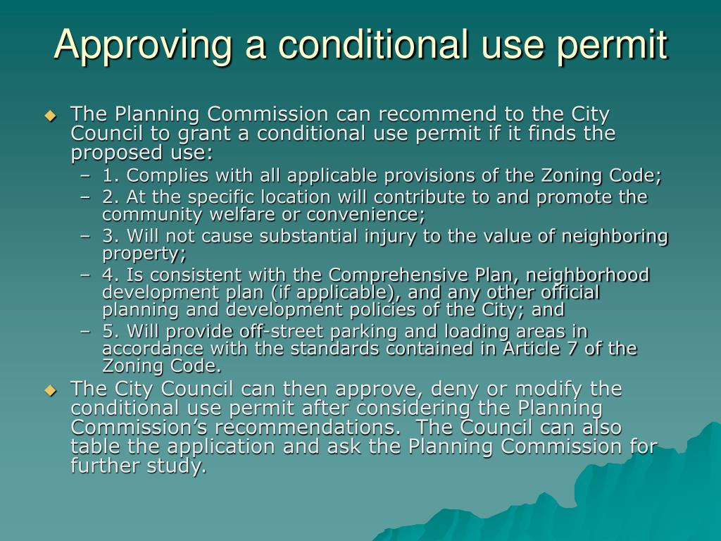Approving a conditional use permit