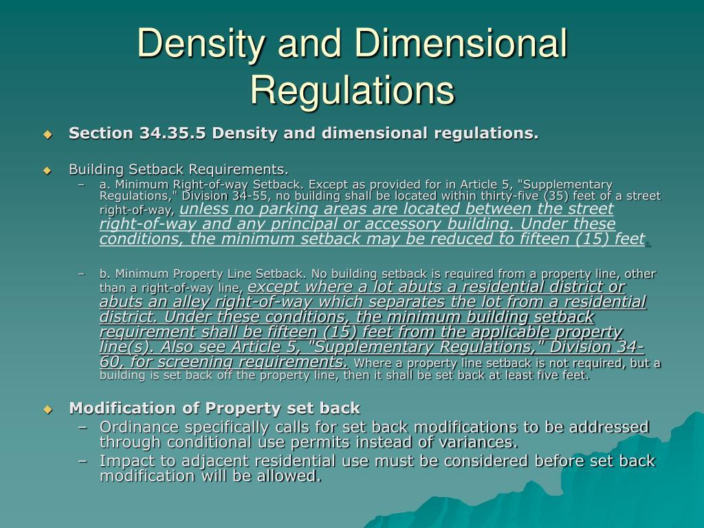 Density and Dimensional Regulations