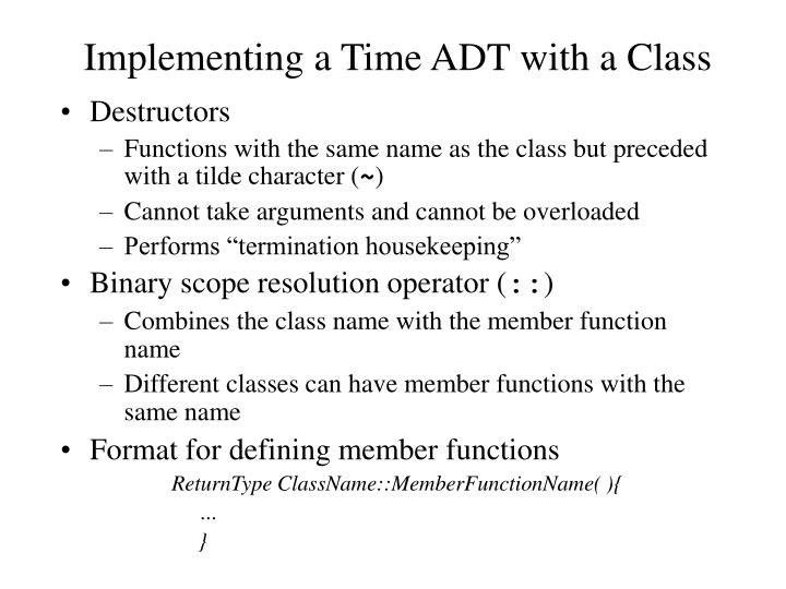 Implementing a Time ADT with a Class