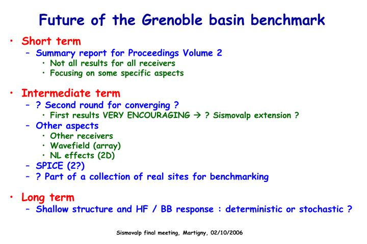 Future of the Grenoble basin benchmark
