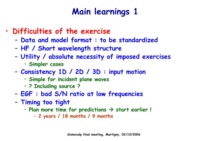 Main learnings 1