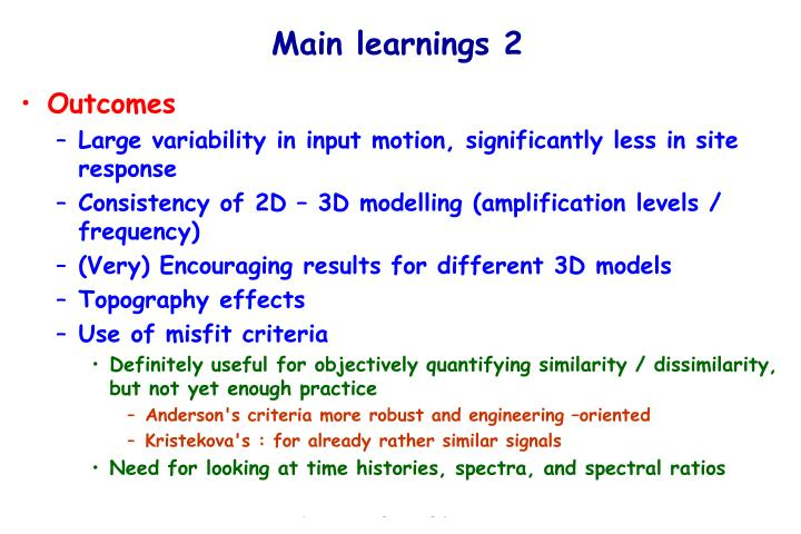 Main learnings 2
