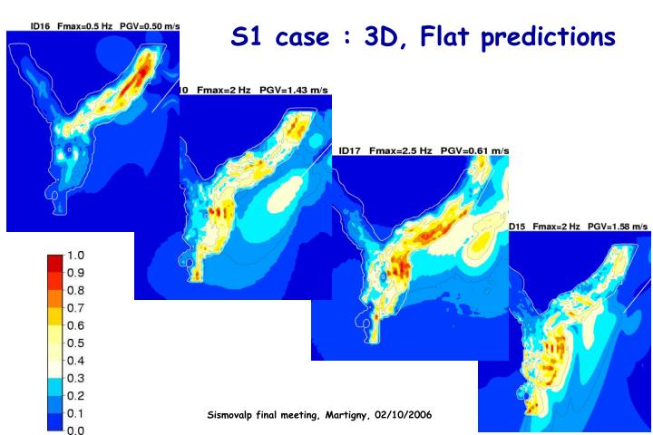 S1 case : 3D, Flat predictions