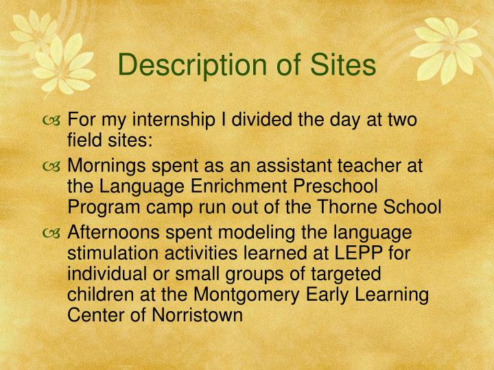 Description of Sites
