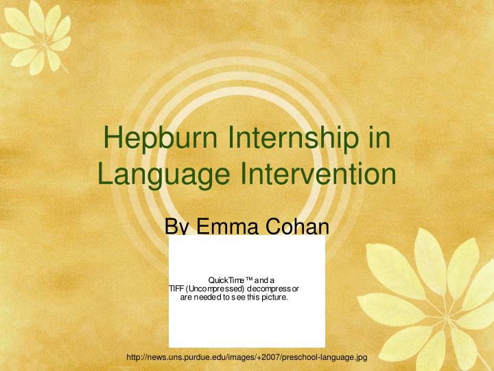 Hepburn internship in language intervention