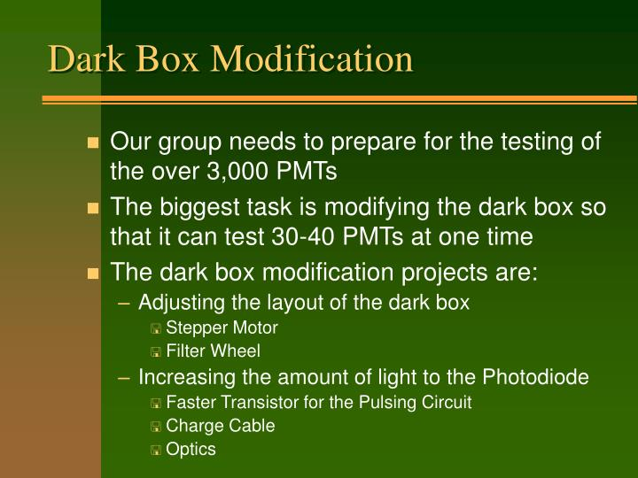 Dark Box Modification