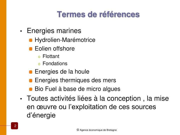 Termes de références