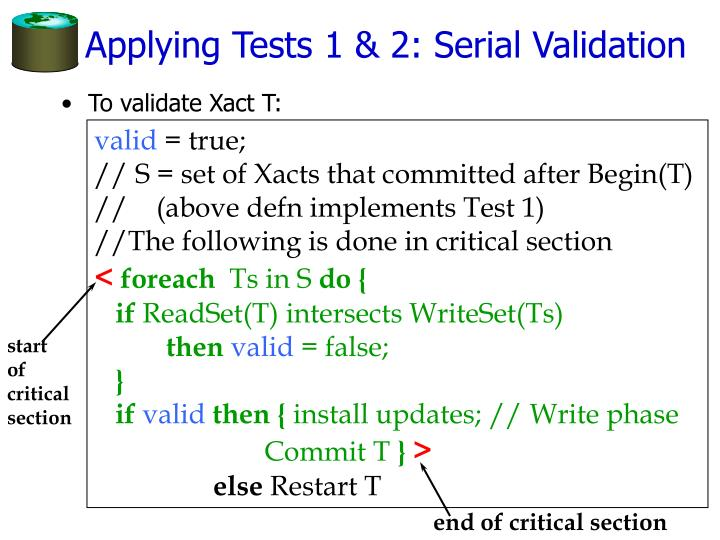 Applying Tests 1 & 2: Serial Validation