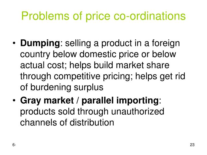 Problems of price co-ordinations
